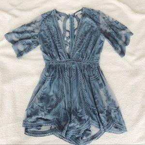 Light Blue Lace Romper